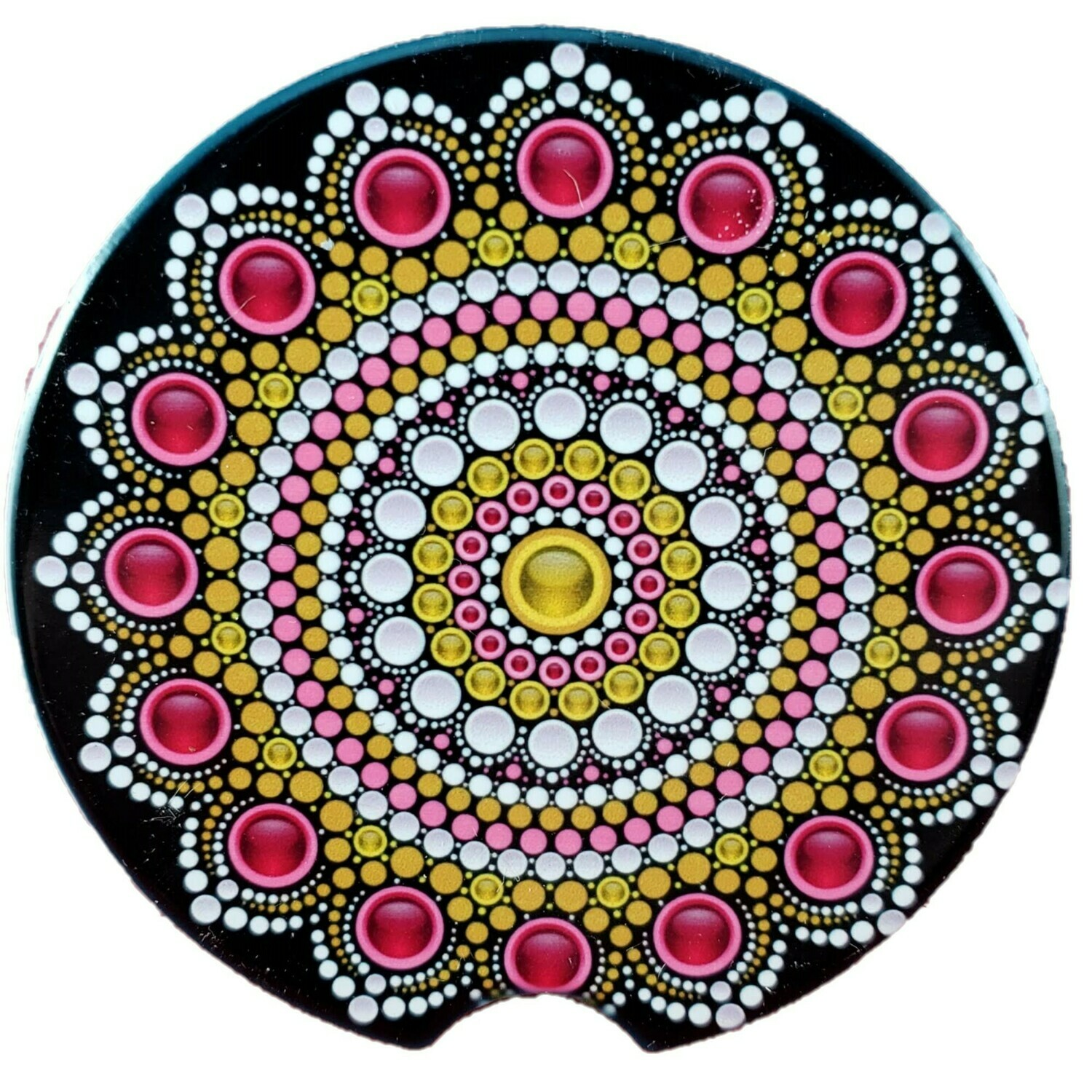 Ruby and Gold Mandala Ceramic Car Coaster - Set of Two