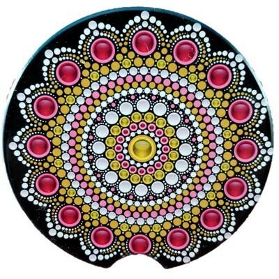 Ruby and Gold Mandala Ceramic Car Coaster - Set of Two