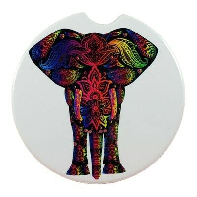 Elephant Mosaic Ceramic Car Coaster - Set of Two