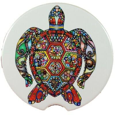 Turtle Mosaic Ceramic Car Coaster - Set of Two