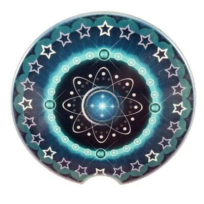 Blue Mandala Ceramic Car Coaster - Set of Two