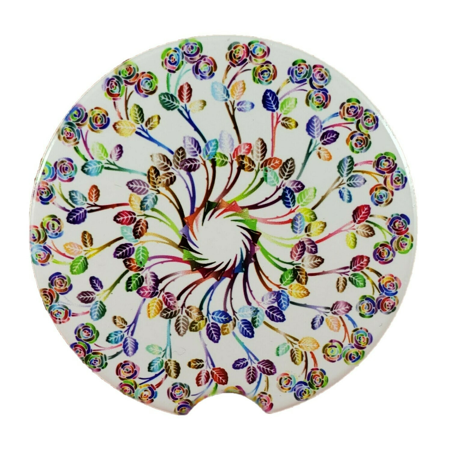 Floral Mandala Ceramic Car Coaster - Set of Two