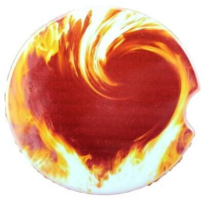 Flaming Heart Ceramic Car Coaster - Set of Two