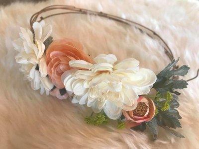 Peaches & Cream Floral Crown
