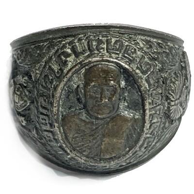 Hwaen Luang Por Tuad Kreung Ongk Nuea Ngern Solid Silver Guru Monk Ring 2536 BE Edition Wat Chang Hai