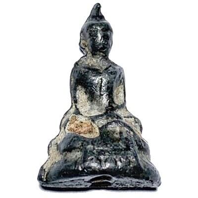 Praput Chin Dtakua Pim Sorng Hnaa Fang Khiaw Hmaa Pha 2460 BE Alchemical Mercurial Alloy with Wolf Tooth Insert Luang Por Dam Wat Kuti