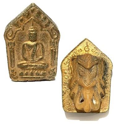 Khun Phaen Prai Kumarn 2515 Pim Yai Niyom Nuea Khiaw Ta Bronze Ivory Ganesh in Rear Face & Certificate Luang Phu Tim