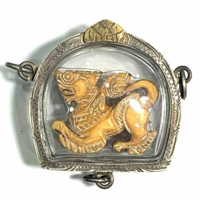 Singh Sam Khwan Pim Bpaag Nok Carved Ivory Singha Himapant Lion Traditional Solid Silver 3 Ring Casing Luang Por Derm Wat Nong Po