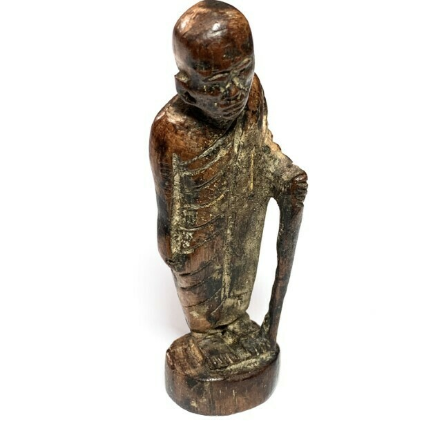 Roop Lor Mai Gae Jarn Mer Early Era Carved Wood 3 Solid Gold Takrut & Authenticity Certificate Luang Phu Tim Free Express Shipping