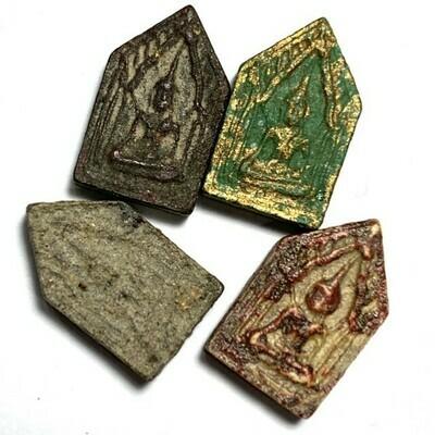 4 Amulet Set Khunphaen Prai Kumarn Jiw Red Black Green Gray 2514 Luang Phu Gaew & LP Tim Wat Laharn Rai Free Express Shipping