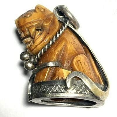 Suea Nga Gae Maha Amnaj Carved Ivory Tiger Amulet Luang Por Parn Wat Bang Hia Circa 2440 BE Free Express Shipping
