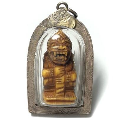 Hanuman Jab Hlak Nga Gae Pim Hnaa Khone Carved Ivory 2460 BE Silver Casing Luang Por Sun Wat Sala Gun Free Express Shipping