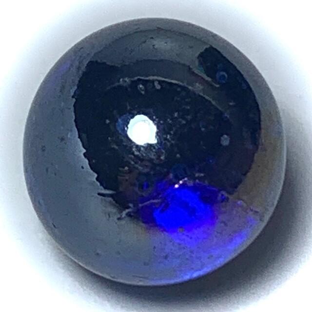 Look Gaew Sarapat Neuk Klueab Parort 2490 BE Alchemical Crystal Wishing Balll Blue 1.5 Cm Luang Por Opasi