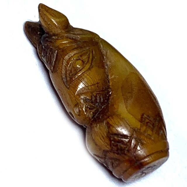 Ma Hmak Ruk Nga Gae Ancient Carved Ivory Chess Horse Hand Inscription Luang Por Derm Wat Nong Po