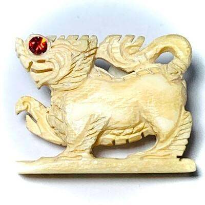 Paya Rachasri Nga Gae Carved Himapant Animal Red Gemstone Eyes Luang Por Horm Wat Sak Hmak