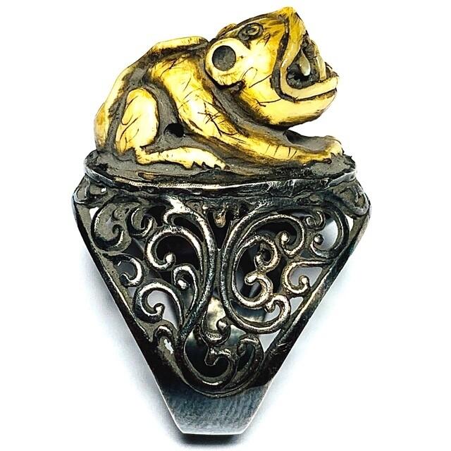 Hwaen Suea Gae Maha Amnaj Carved Tiger Tooth Amulet Luang Por Parn Wat Bang Hia Circa 2440 BE