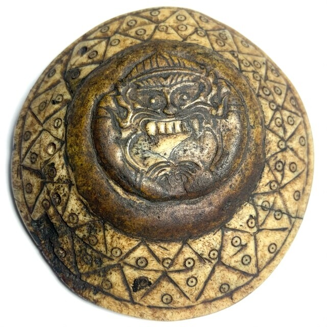 Ban Neng Pra Rahu Wicha Lanna Carved Skull Bone Necromantic Asura Deva Spirit Amulet BE Kroo Ba Nanta Wat Tung Man Dtai