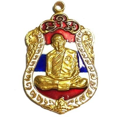 Rian Sema Paed Rorb Gammagarn 2518 Code Na Code Sala 3 x Code Met Nga Code Tor Solid Gold Coated with Tricolored Enamels & Certificate Luang Phu Tim
