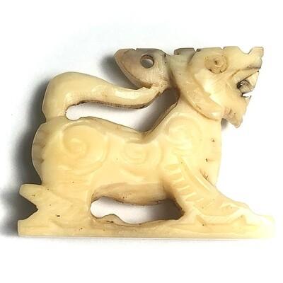 Singh Sam Khwan Nga Gae Carved Ivory Himapant King Lion Amulet 2490 BE Luang Por Gan Wat Khao Gaew