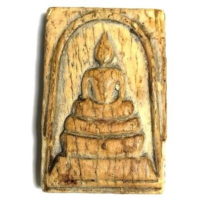 Pra Somdej Gae Nga Pim Sam Chan 2470 BE Carved Ivory Buddha 3 Tiered Dais Luang Por Derm Wat Nong Po