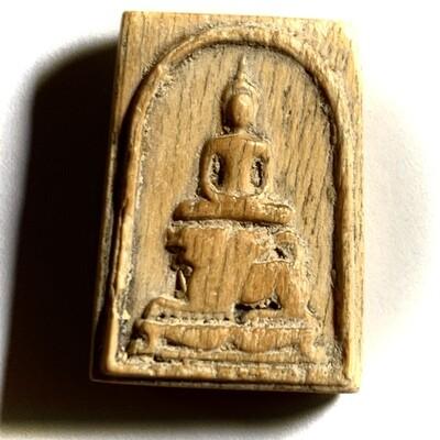 Pra Somdej Gae Nga Pim Khee Singh 2470 BE Carved Ivory Buddha riding Rachasri Lion Luang Por Derm Wat Nong Po