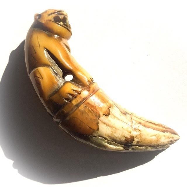 Khiaw Suea Tiger Tooth Amulet - Luang Por Parn Wat Bang Hia (2368 - 2453 BE) - Kong Grapan Chadtri Maha Amnaj Talismanic Amulet of Master Class Status