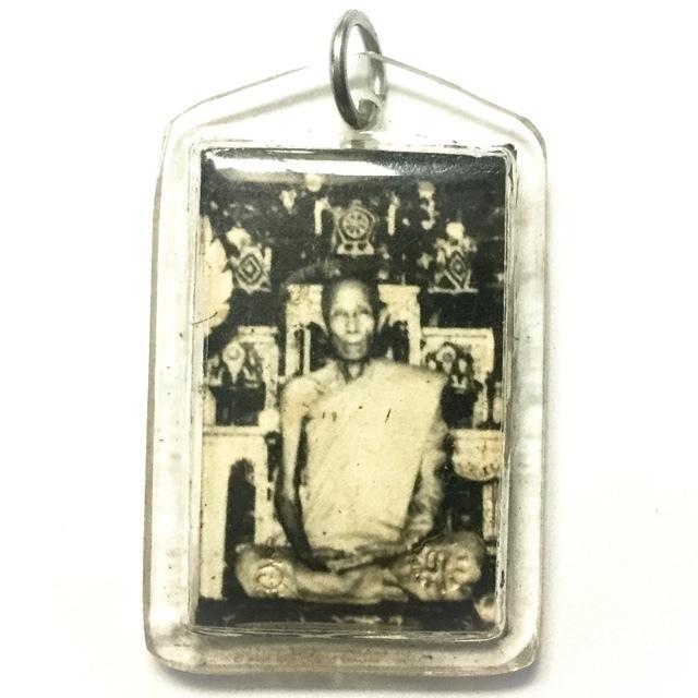 Roop Tai Khaw Dam Hlang Bpam Yant Dtok Code 2519 BE - Blessed Guru Monk Photograph With Temple Ink Stamp Yantra - Luang Phu To Wat Pradoo Chimplee