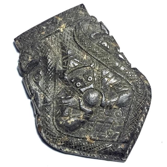Rahu Om Jantr Pim Sema Kwam Niyom Krob Suudt 1 Eyed Coconut Shell Carved Asura Deva Eclipse God + Spell Inscriptions - Luang Por Pin Wat Srisa Tong