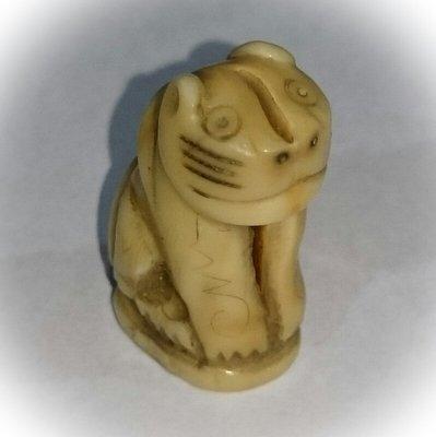 Suea Gae - Nuea Nga - Carved Ivory Tiger Amulet - Luang Por Nok - Wat Sangkasi - Circa 2460 BE - Kong Grapan Chadtri Maha Amnaj Talismanic Amulet of Master Class Status