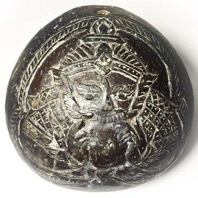 Kala Ta Diaw Rahu Om Jantra Om Surya 1 Eyed Coconut Carved Asura Deva Eclipse God - Bucha Kroo Luang Por Noi Ceremony - Luang Por Pin Wat Srisa Tong