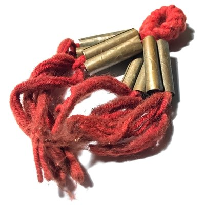 Takrut Sariga Paed Dork Wicha Lanna Boran 8 Yantra Scroll Spells on Red Spellbound Cord - Kroo Ba Kam Saen Wat Pha Don Moon