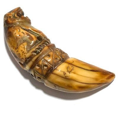 Khiaw Dtem Gae Suea Carved Tooth Tiger Amulet with Hand Inscriptions Luang Por Nok Wat Sangkasi