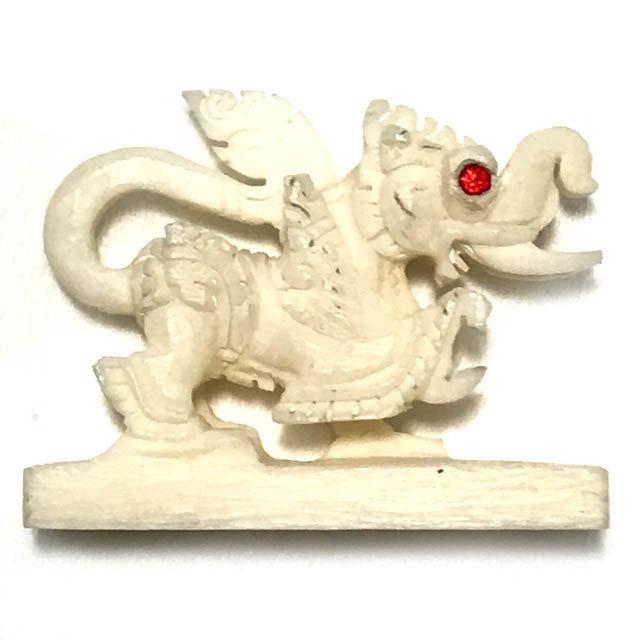 Kochasri Nga Gae Carved Himapant Animal Red Gemstone Eyes Luang Por Horm Wat Sak Hmak Free EMS