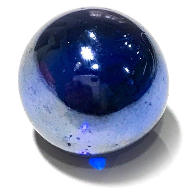Look Gaew Sarapat Neuk Klueab Parort  2490 BE Alchemical Crystal Wishing Ball Blue 1.5 Cm Luang Por Opasi