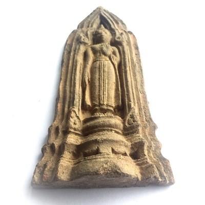 Pra Kru Kone Samor Pim Ham Yati - Over 200 Year Old Ayuttaya Period Clay Buddha Amulet from 2430 BE Royal Palace Hiding Place Find