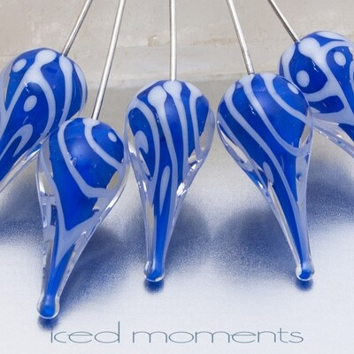 Preoccupation teardrops in cobalt blue and white