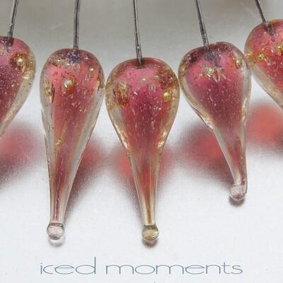 Shimmer teardrops in pink