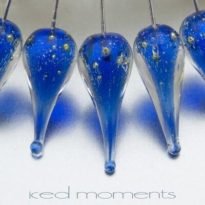Shimmer teardrops in intense blue