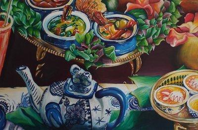 Thai Food and a Teapot Original Painting