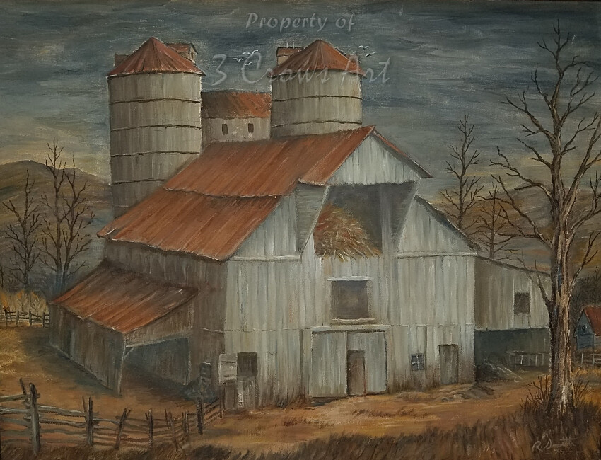 Twin Silos (original painting) 19x24
