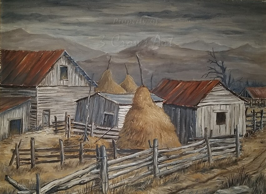 Winter Barns (original painting) 16X20