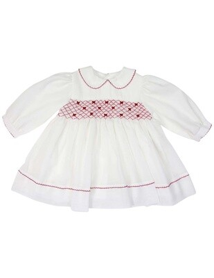 Collared Smocked Voile Dress With Hand Embroidered Bows