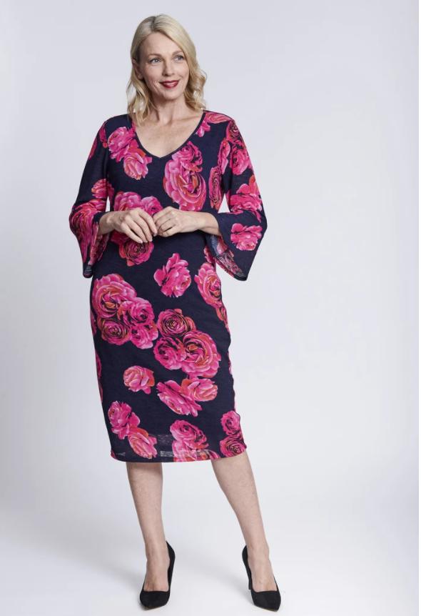 V Print Dress