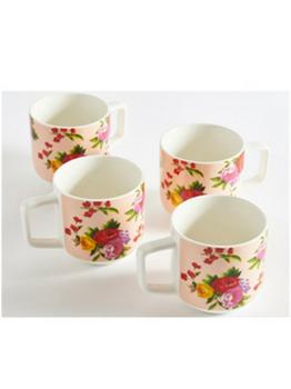 Bright Vintage Bouquet Mugs Set of 4