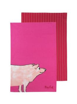 Symphony Funny Farm Pig Out Tea Towels Set of 2