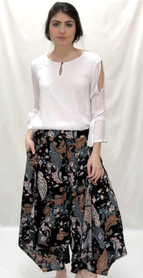 Abstract print coconut button pant