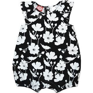 Baby girls black/white printed floral romper