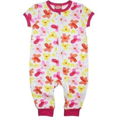 Baby girls fluro pink zip thru romper