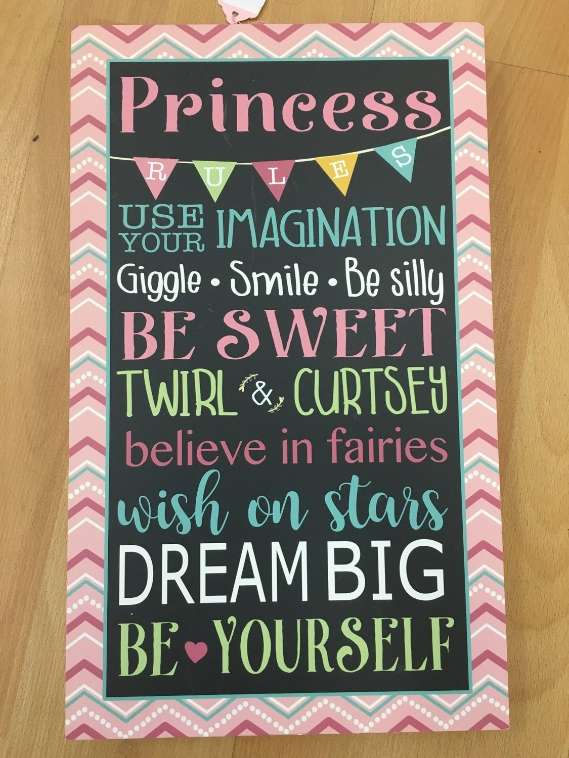 New Princess Rules Wall Plaque
