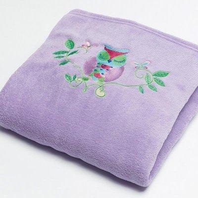 Owl Song Embroidered Fleece Throw